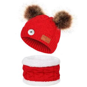 Nouveau automne et hiver enfants boule de fourrure fleur de chanvre tricoté chapeau bavoir hommes et femmes bébé double couche chapeau chaud fit 18mm bouton pression