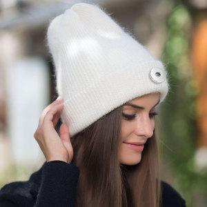 Nouveau chapeau en laine de fourrure de lapin angora japonais pour hommes et femmes automne et hiver chapeau en tricot de chaleur mélangée de fourrure de lapin épaissie fit bouton-pression de 18 mm