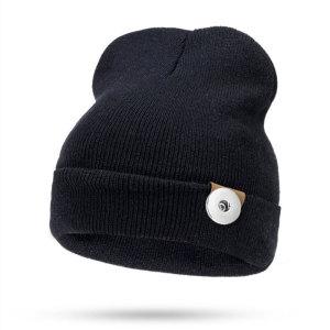 Capuche de style nouveau, bonnet tricoté en automne et en hiver, bonnet en laine pour hommes et femmes avec bouton-pression de 18 mm