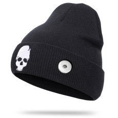 Halloween new autumn and winter skull embroidery knitted hat woolen hat fit 18mm snap button