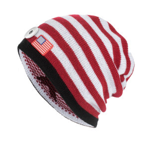 Casquettes de drapeau américain automne/hiver Casquettes en laine tricotées pour bouton-pression de 18 mm