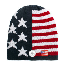 Autumn/Winter American flag caps Knitted woolen caps fit 18mm snap button
