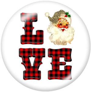 Botones a presión de vidrio con estampado de Papá Noel de amor navideño de 20 mm