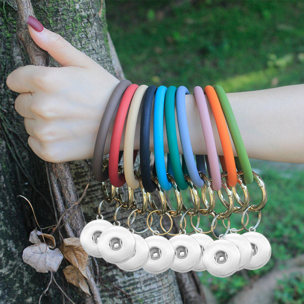 New Round Silicone Bracelet Keychain Large Outdoor Sports Silicone Bracelet fit snaps chunks  Snaps Jewelry
