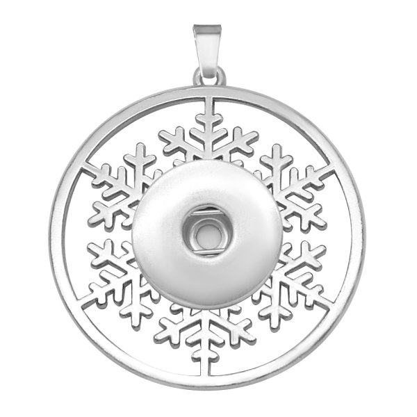 Christmas snowflakes snap sliver Pendant  fit 20MM snaps style jewelry