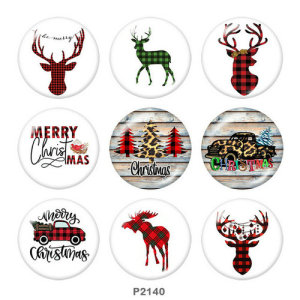 Botones a presión de vidrio con estampado de ciervos de coche de Navidad de 20 mm