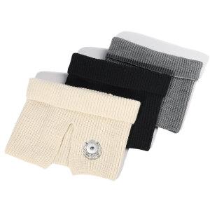 Las mujeres del babero del nuevo estilo se mantienen calientes en otoño e invierno, cuello de lana de punto dividido, botón a presión de 18 mm con ajuste de bufanda