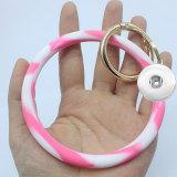 Round Camouflage Silicone Bracelet Keychain Large Bracelet Car Key Bracelet Ring fit snaps chunks  Snaps Jewelry