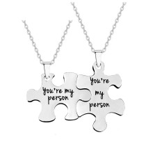 Necklace men and women stainless steel lovers puzzle jewelry Valentine's day gift lettering necklace chain 50CM
