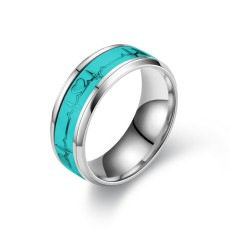Stainless steel luminous heartbeat ring ECG couple ring