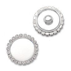 21MM High quality Alloy rhinestone base silver plated snap charms fit 20mm snap jewelry