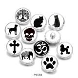 20 мм Кошка Древо жизни Слон Собака Череп Стеклянные кнопки с принтом