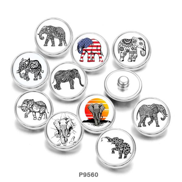 Boutons-pression en verre à imprimé éléphant 20 MM