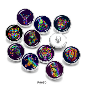 Стеклянные кнопки с принтом тигра, волка, оленя и альпаки, 20 мм