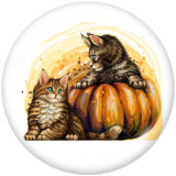 Boutons pressions en verre imprimé lapin chat Halloween 20MM