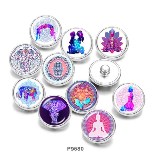 20MM Elephant Faith Yago Print boutons pressions en verre