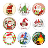 20MM  Christmas   Santa Claus   Print   glass  snaps buttons