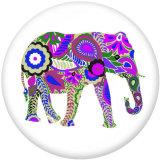 Boutons pressions en verre imprimé Elephant YOGA 20MM