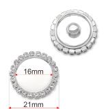 21MM Alliage de haute qualité base en strass breloques plaquées argent pour bijoux à pression de 20mm