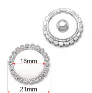 21 мм высокое качество сплава со стразами на основе посеребренных кнопок подвески подходят для ювелирных изделий на кнопках 20 мм