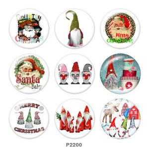 Стеклянные кнопки с принтом Санта-Клауса 20 мм