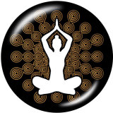 Стеклянные кнопки с принтом в виде слона, 20 мм, медитация, йога, кнопки