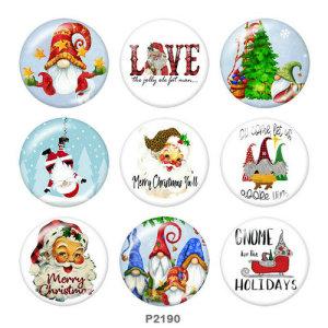 Стеклянные кнопки с принтом Санта-Клауса, 20 мм