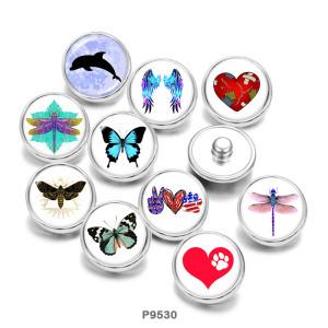 Стеклянные кнопки с принтом Dragonfly Butterfly Love Print 20 мм