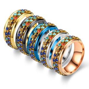 新しいリングステンレス鋼カラフルなダイヤモンドチェーン回転リング