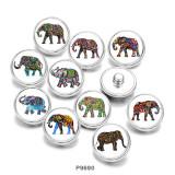 Boutons pressions en verre imprimé éléphant 20MM