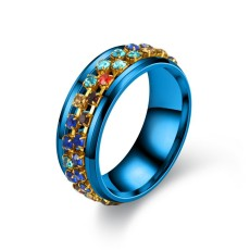 New Ring Stainless Steel Colorful Diamond Chain Rotating Ring