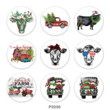20MM  Christmas  cattle  Car  Print   glass  snaps buttons