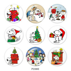 20MM  Christmas  Snoopy  Print  glass  snaps buttonDeer