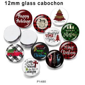 10 unids / lote productos de impresión de imágenes de vidrio de coche de árbol de Navidad de varios tamaños imán de nevera cabujón