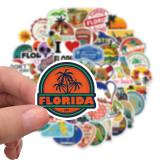50 Stück Florida Graffiti Aufkleber personalisierte Dekoration Gepäck Wasserbecher wasserdicht DIY