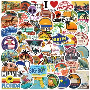 フロリダの落書きステッカー50枚パーソナライズされた装飾荷物ウォーターカップ防水DIY