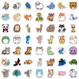 100 autocollants de graffiti de collection d'animaux naturels de bande dessinée autocollants imperméables de valise décorative sans laisser de colle