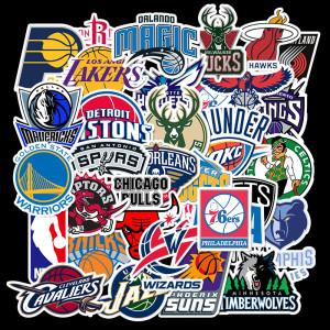 32 zapatillas de baloncesto con logo de pelota de baloncesto no repetitivas, pegatinas de graffiti, estuche con ruedas, monopatín de viaje, guitarra a prueba de agua