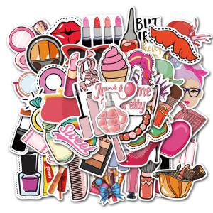 50 niñas cosméticos lindas pegatinas de graffiti maleta portátil guitarra pegatinas impermeables pegatinas