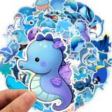 49青い海の漫画の動物かわいい防水パーソナリティギタースケートボードスーツケース落書きステッカー
