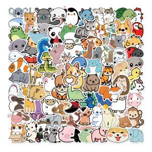 100 dibujos animados colección de animales naturales pegatinas de graffiti maleta decorativa pegatinas impermeables sin dejar pegamento