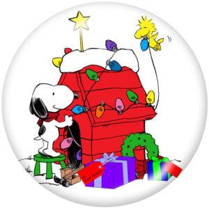 Bouton pressions en verre imprimé Noël Snoopy 20MMCerf