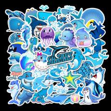 49 синий океан мультяшные животные милые водостойкие личности гитара чемодан для скейтборда граффити наклейки
