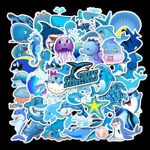 49 blue ocean cartoon animals cute waterproof personality guitar skateboard suitcase graffiti stickers
