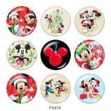 20MM Noël Mickey Mouse Print bouton pression en verreCerf
