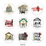 20MM Christmas Cross Print GlasdruckknöpfeHirsch