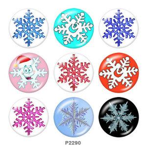 Boutons pressions en verre imprimé flocon de neige de Noël 20MM
