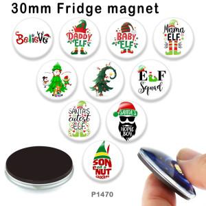 10 unids / lote productos de impresión de imágenes de vidrio de árbol de Navidad de varios tamaños imán de nevera cabujón