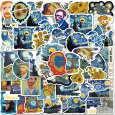 40 штук работ Ван Гога картина маслом подсолнечника граффити наклейки багаж ноутбук гитара водостойкие наклейки