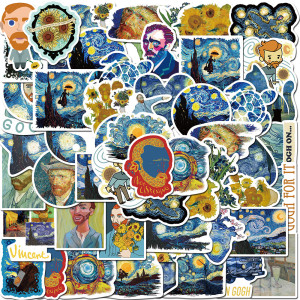 40 piezas de Van Gogh trabaja girasol pintura al óleo graffiti pegatinas equipaje portátil guitarra pegatinas impermeables